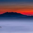 Lake Mashu filled with fog at dawn. 3 am