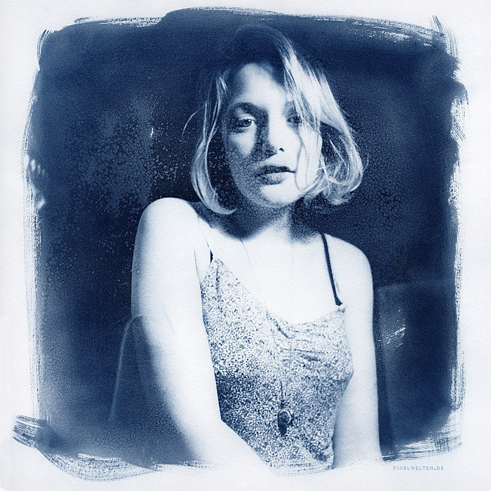 Photograph portrait of a young girl cyanotype 50x50 by Rüdiger Beckmann on 500px