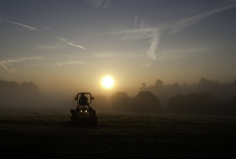Photograph Mowing the Grass in a Misty Sunrise by Yvonne White on 500px