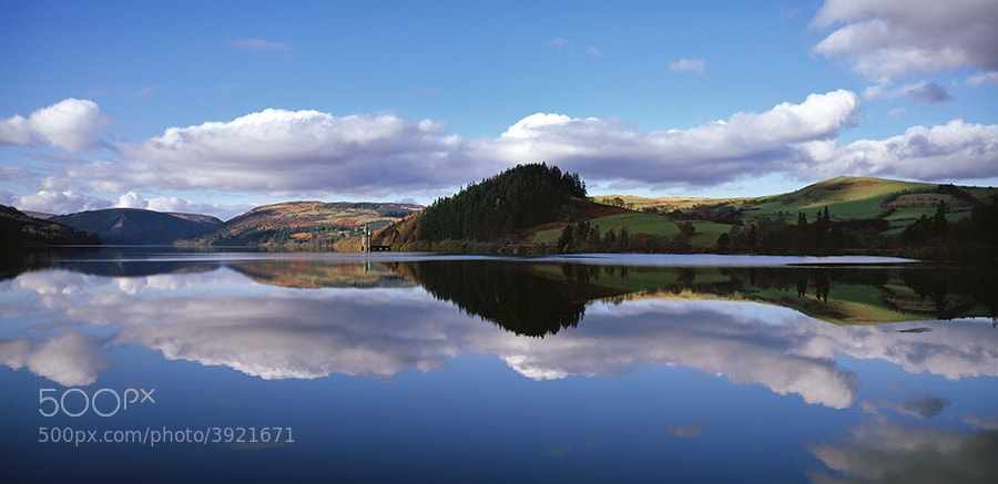 Reflections on lake Lake Vyrnwy North Wales UK