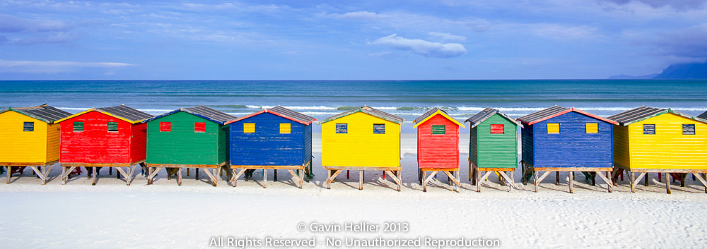 Photograph Colourful beach bathing huts, Muizenburg, False Bay, Cape Town, South Africa by Gavin Hellier on 500px