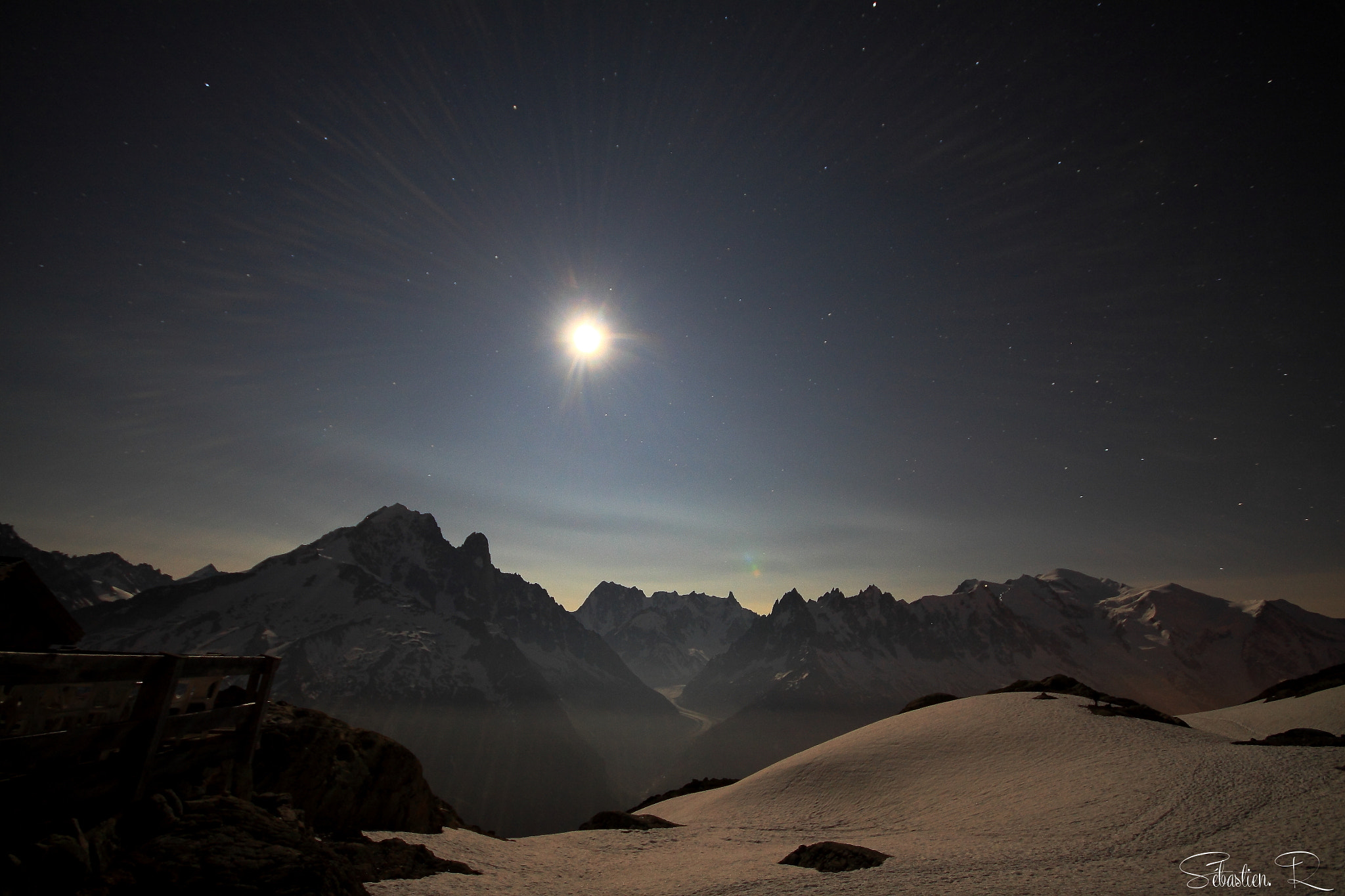 Photograph Chamonix needles moonlight by Sébastien Rodrigues on 500px