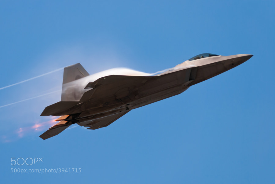 F-22A Raptor pulls up after a high speed pass