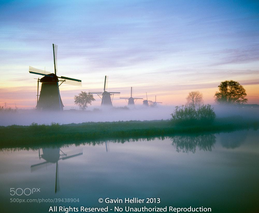 Photograph Holland, Kinderdjik, Windmills & Canal in the dawn mist by Gavin Hellier on 500px
