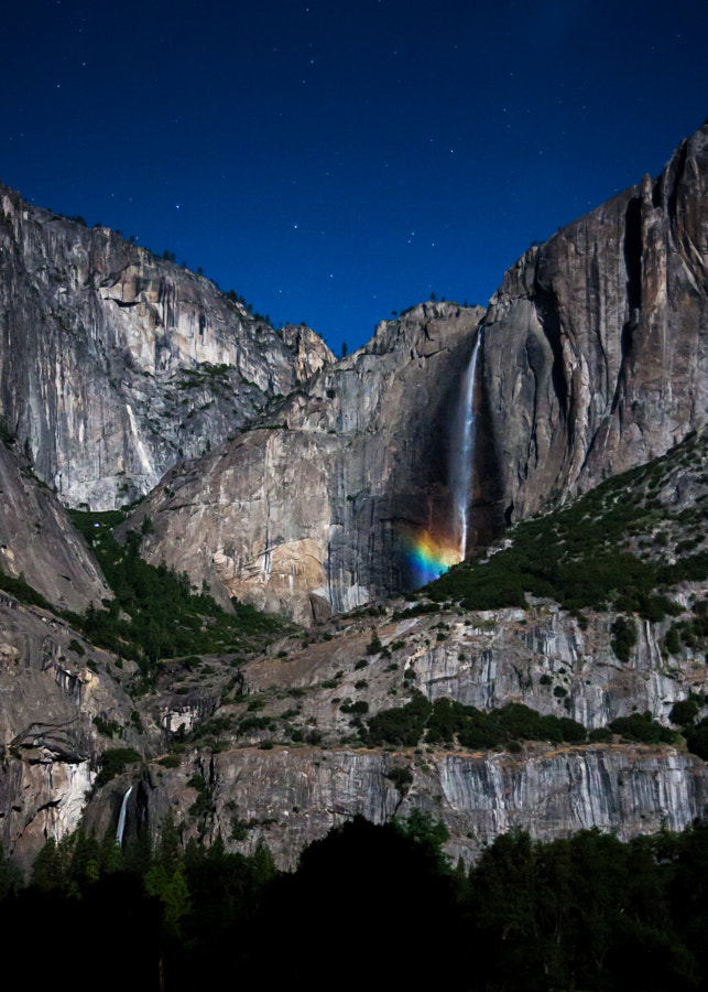 A few nights every year during April, May and June, when it is a full moon and the skies are clear, one can capture the Rainbow forming over the upper and lower Yosemite falls. On the night of June 23, 2013,  I was lucky enough to capture this phenomena even though the mist was ever so light, due to the incredibly bright full moon. That day was rather cloudy so was the day after, so it was quite fortunate to have a clear night. Had to be there early enough to set the focus as it would be quite challanging in the dark.