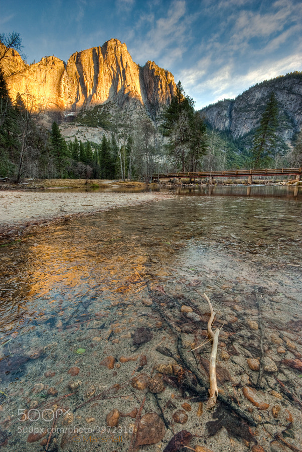 A frozen December morning was worth getting up early for in order to watch the first rays of sun hit Yosemite Falls