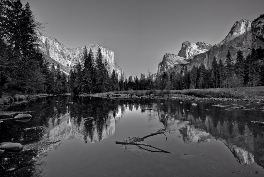 This image seemed like the perfect opportunity to try processing as an HDR in Photomatix, and then converting to B&W in Lightroom.  The Merced River in Yosemite Valley, December, 2011.