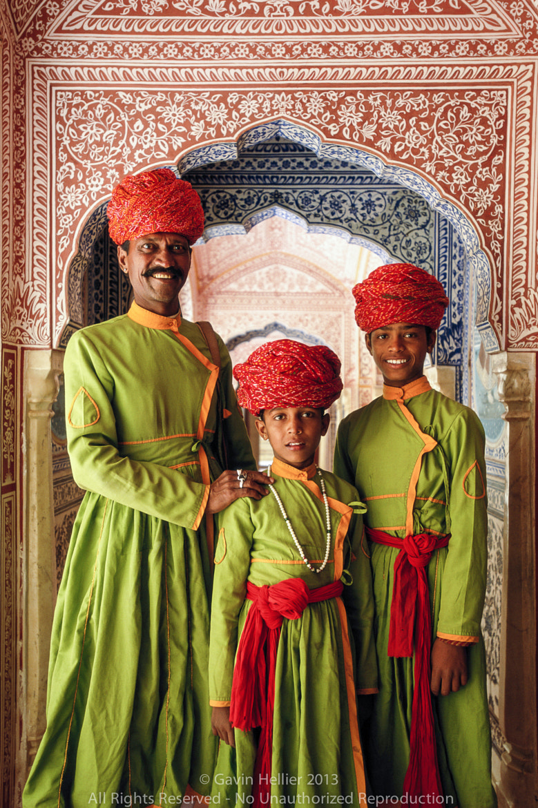 Photograph India, Jaipur, Samode Palace, father and sons in ornate hallway by Gavin Hellier on 500px
