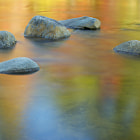 Fall reflection in the Swift River on the Kancagamus Pass, White Mtns., NH