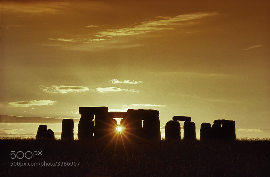 PREHISTORIC MONUMENT, STONEHENGE AT SUNSET,
