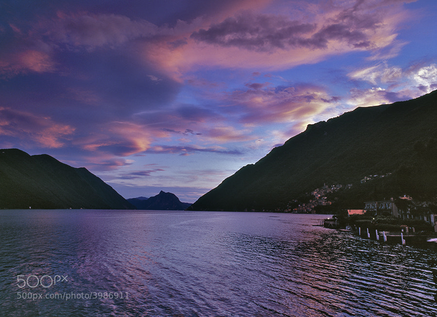 LAKE LUGANO AT SUN SET FROM SAN MAMETE NR ITALIAN SWISS BOARDER