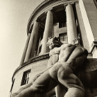 sculpture adorns government building