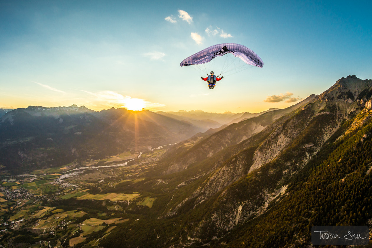 Photograph High up in the air, the Alps, a sunset and a full stall glider w by Tristan Shu on 500px