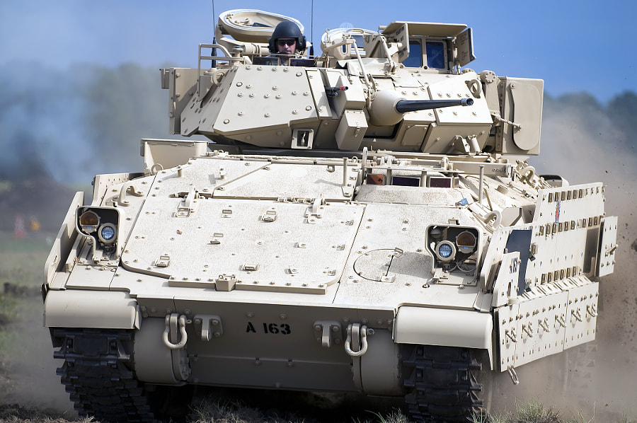 An M-2 Bradley tank on the move.