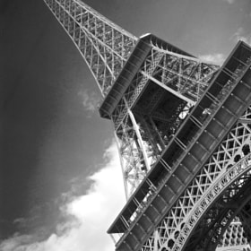 B&W photo of the Eiffel Tower in France.