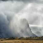Cascades of rain on the Iceland coast.
