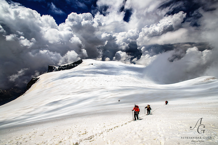 Explosion of cumulonimbus clouds observed from 4000m altitude, during the race against the threatening weather to the summit of Breithorn (4165m). Soon the thunder reverberated, visibility came down the null and it started to snow