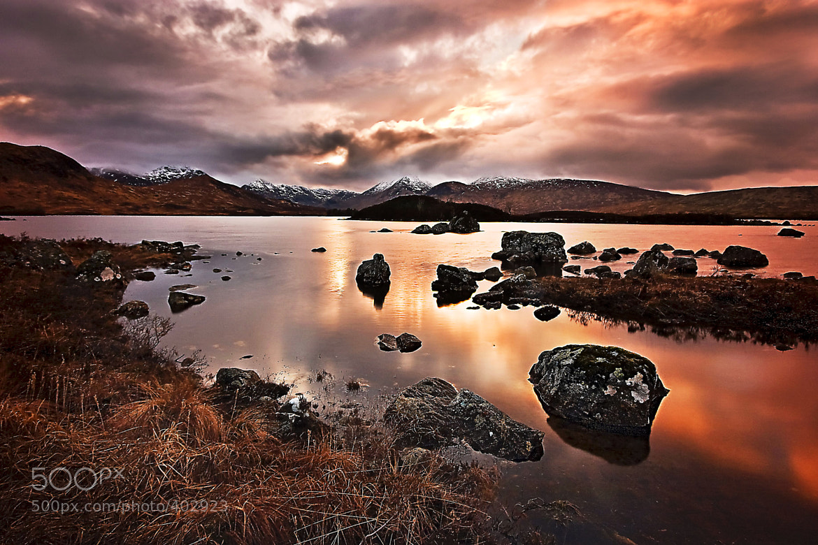 Photograph Sunset over Loch Nah-Achlaise by Katja Stock on 500px