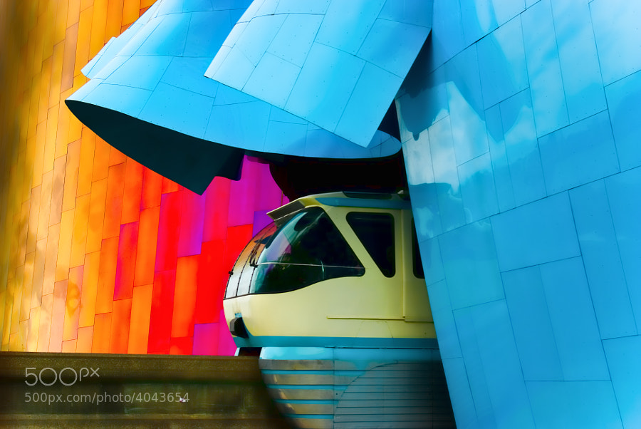 The travel of the Monorail punctures the western wall of the Experience Music Project in Seattle, Washington.