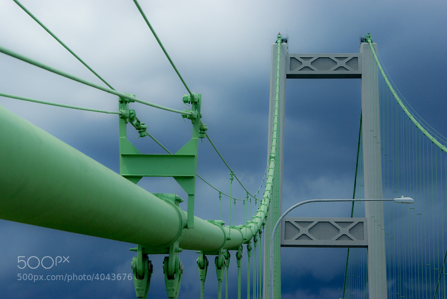 Fortunate to capture the Tacoma Narrows Bridge cables with the sun behind me, and the storm clouds approaching me.