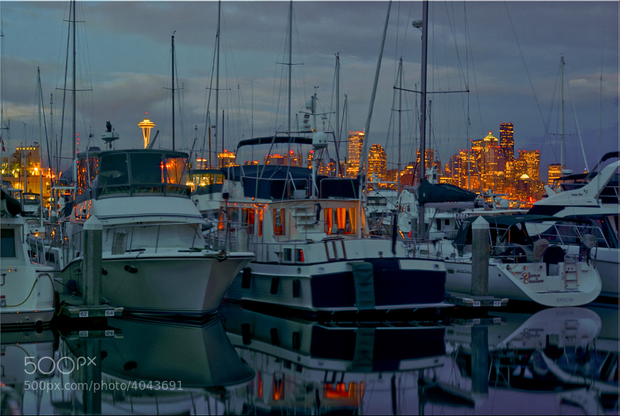 Seattle city lights from the Elliot Bay Marina