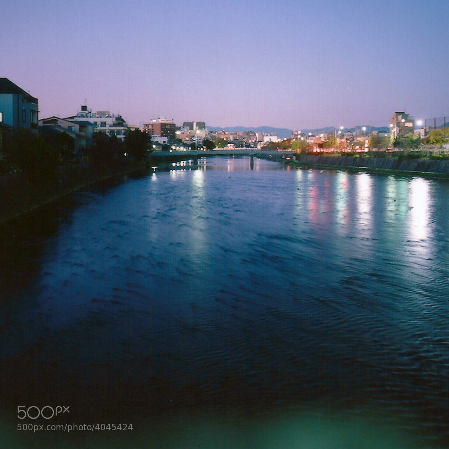 A simple night view around Kamo river, in Kyoto, Japan