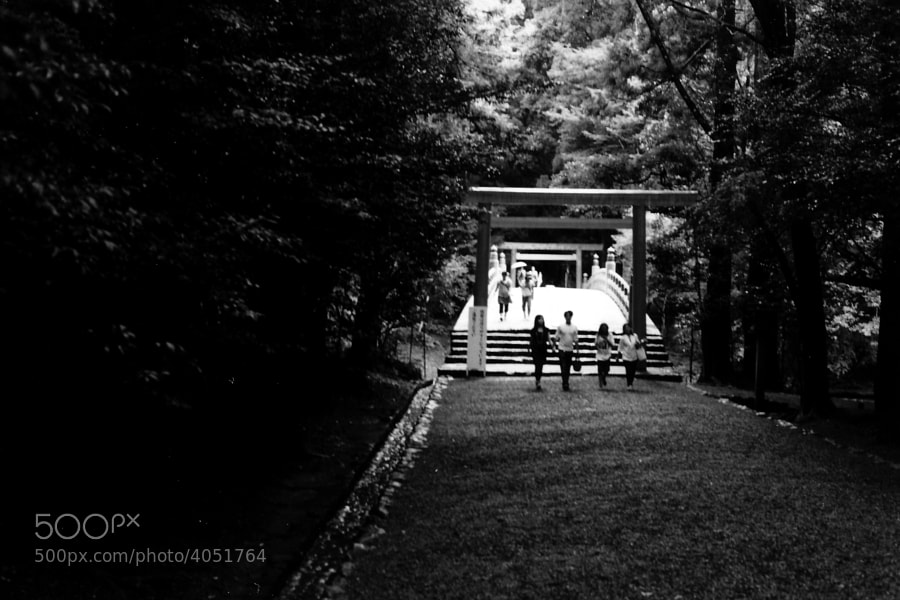 A torii and a bridge, typical of Japanese temples in Ise Jingu, Ise City, Mie, Japan