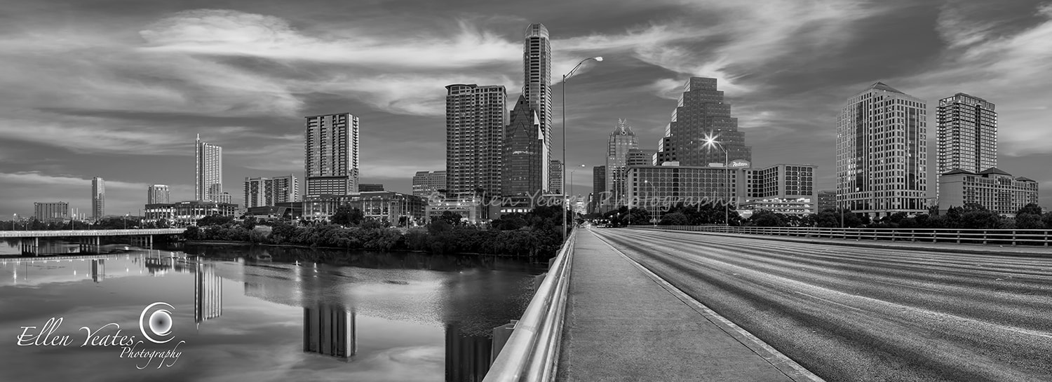 Photograph Austin Skyline Panorama (Black and White) by Ellen Yeates on 500px