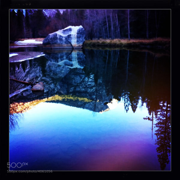 iPhone Hipstamic image captured during early morning light at Mirror Lake, Yosemite.
