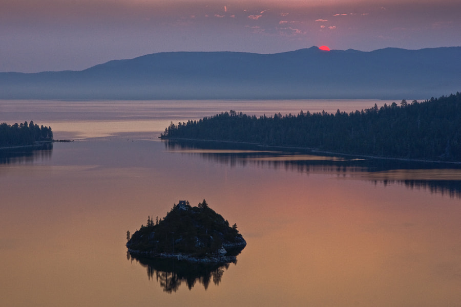 Sunrise image at Emerald Bay on Lake Tahoe