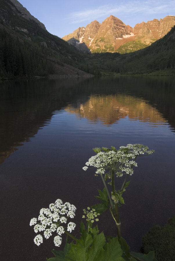 Sunrise image at the Maroon Bells  near Aspen Colorado