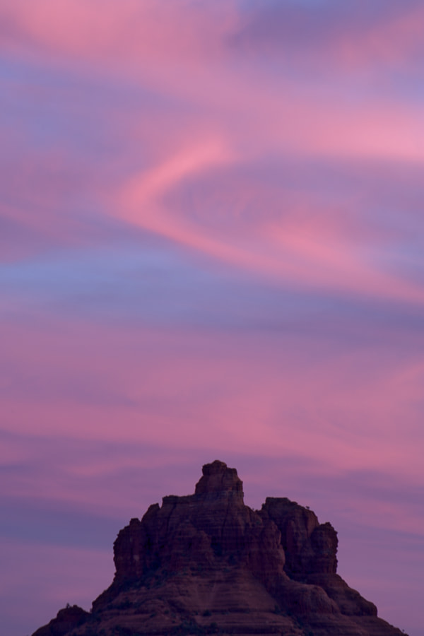 Image of the sunset sky over Bell Mountain