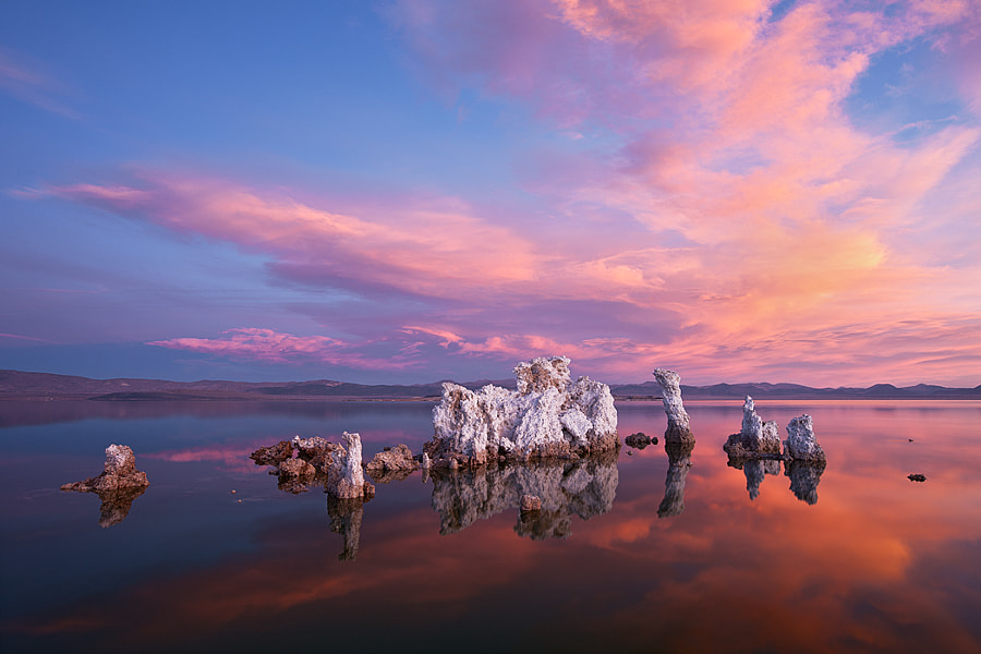Woke up a tad late on this morning just outside Mono Lake...could see nice clouds over the lake and....A HINT OF COLOR!  Shit!  Drove quick down to the Mono Lake South Tufa's and was out the door the second the tires came to a stop. Literally had about 3 minutes to setup as the color intensified.  THEN, I did something incredible...  I left Mono Lake and drove home back to the bay area...over Tioga Pass...on January 2nd...last time Tioga was open this late in the season was 1976!  Driving over Tioga and seeing Tenaya lake totally frozen over, and people ice skating, was pretty cool.