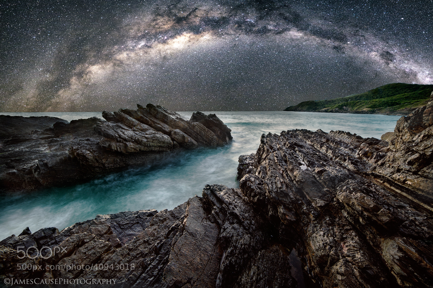 Photograph Milky Way rises over the ocean by James Cause on 500px