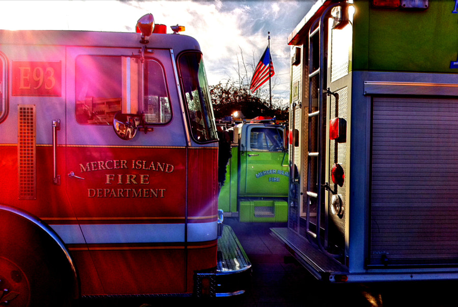 Beautiful light to capture the local fire department washing their trucks. iPhone HDR capture.
