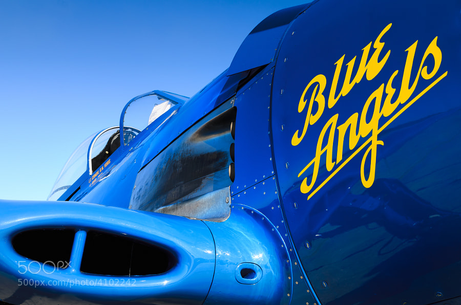 A Vintage F8F Bearcat in Blue Angels livery at NAS Pensacola