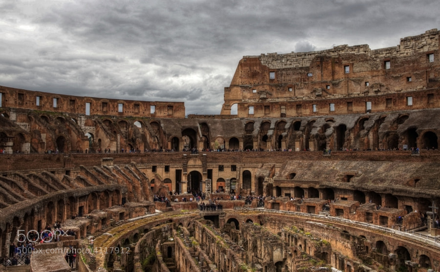 The Colosseum, or the Coliseum, originally the Flavian Amphitheatre, is an elliptical amphitheatre in the centre of the city of Rome, Italy, the largest ever built in the Roman Empire. It is considered one of the greatest works of Roman architecture and Roman engineering.