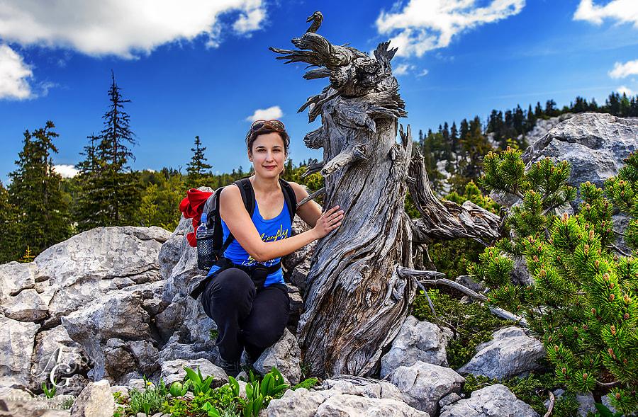 Marijana in the karst of Rožanski Kukovi, a strict reserve inside the North Velebit NP