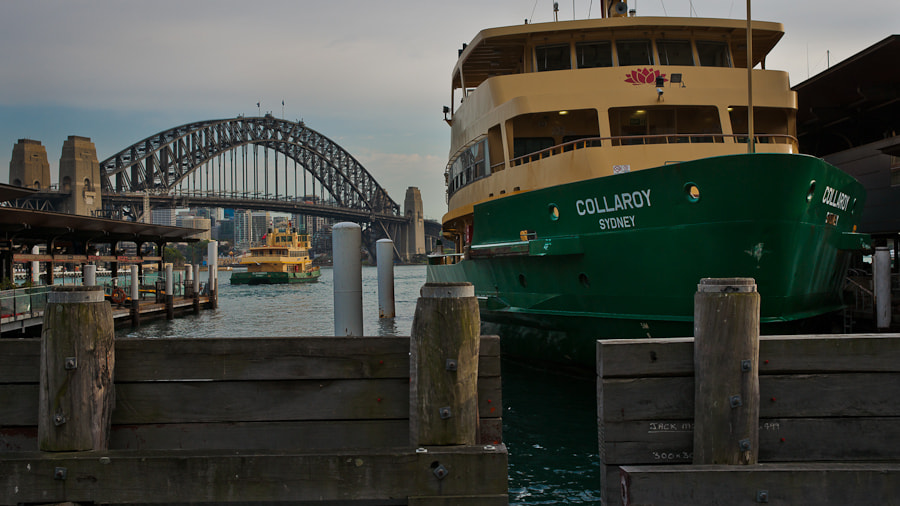 Image taken in downtown Sydney.  The Sydney Harbour Bridge is seen in the background.