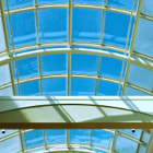 Glass ceiling inside a large mall that will no doubt change over time.