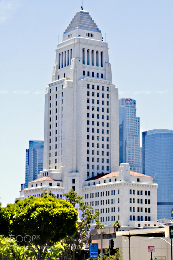 Los Angeles City Hall, completed 1928, is the center of the government of the city of Los Angeles, California, and houses the mayor's office and the meeting chambers and offices of the Los Angeles City Council. It is located in the Civic Center district of downtown Los Angeles in the city block bounded by Main, Temple, First, and Spring streets.