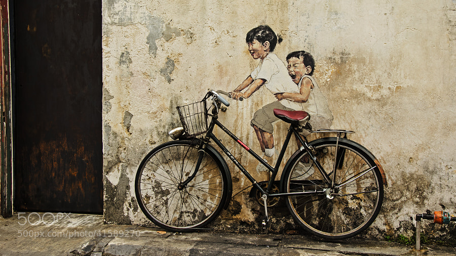 One of a number of examples of street art in Georgetown, Penang.  Some are interactive; all are great fun.  Many are hidden in side streets. Worth a trishaw ride/guide!