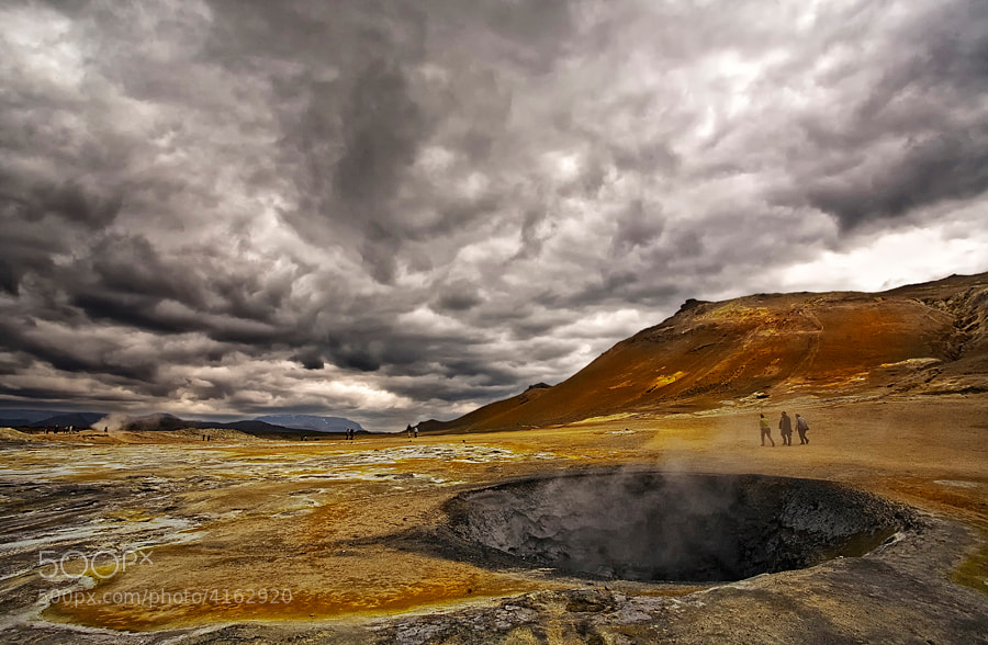 This is a geothermal area, named  Námaskarð, close by Mývatn, North of Iceland
