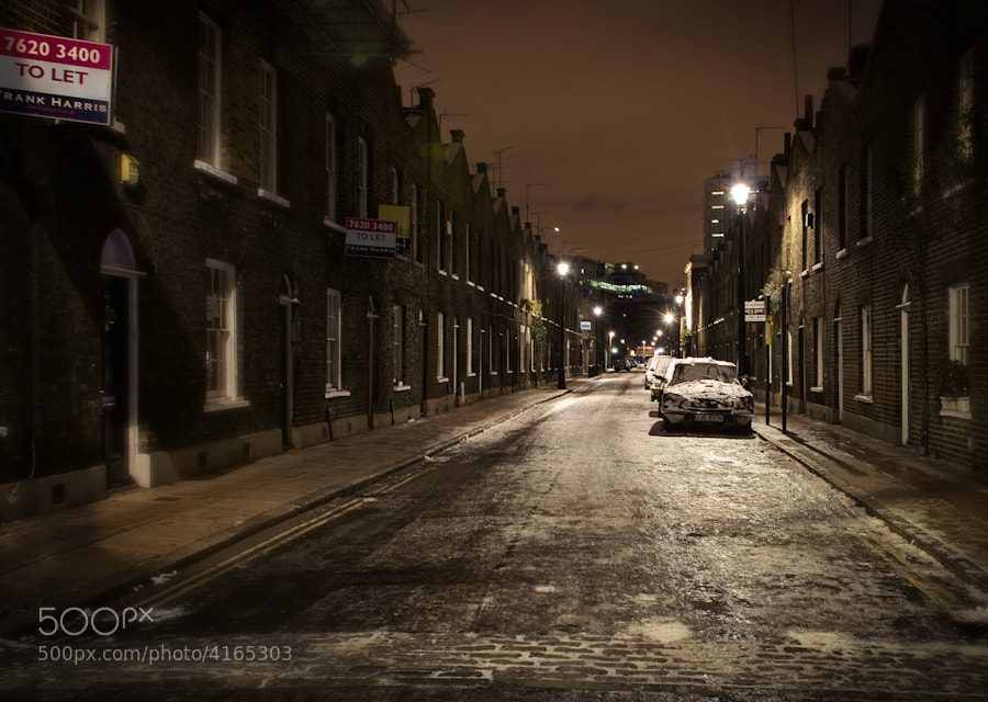 Taken in London at midnight after a snowfall