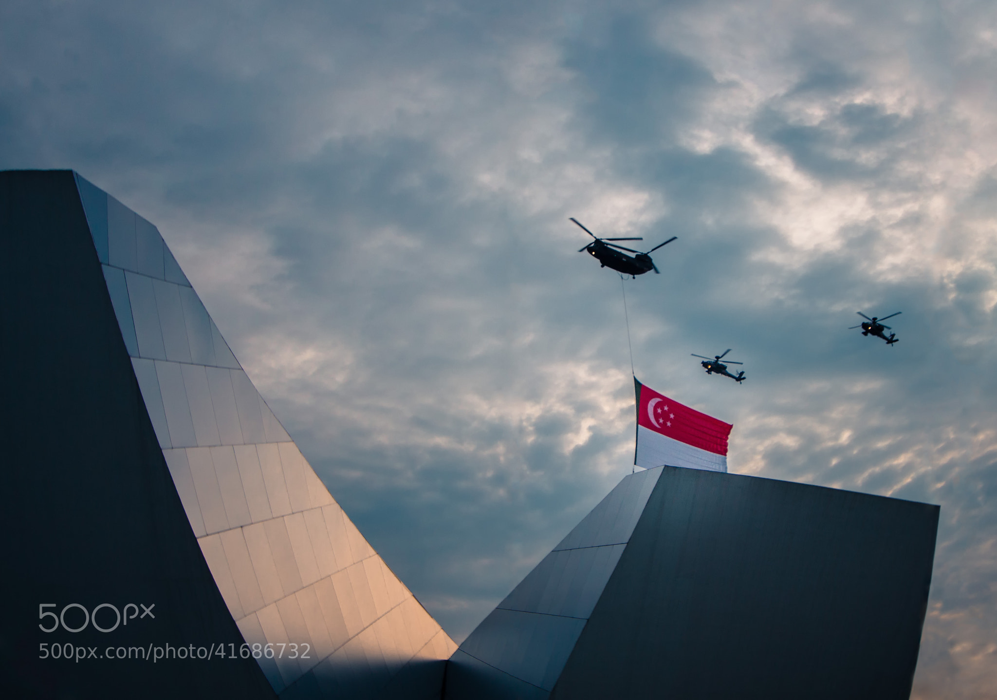 Photograph 2013-07-27 NDP Rehearsals Helicopters with Singapore Flag Flyover by Teelip Lim on 500px