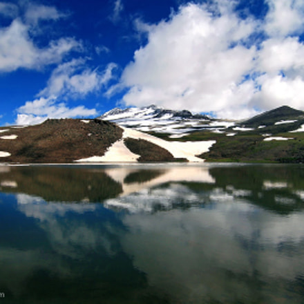 Aragats mountain in lake