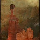 Hazy sunrise at Bryce Canyon, UT using a texture overlay to enhance the effect.