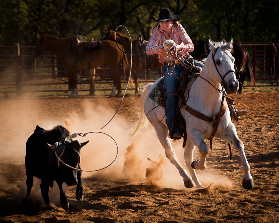 Coree Shiner ropes a calf on a ranch near Weatherford