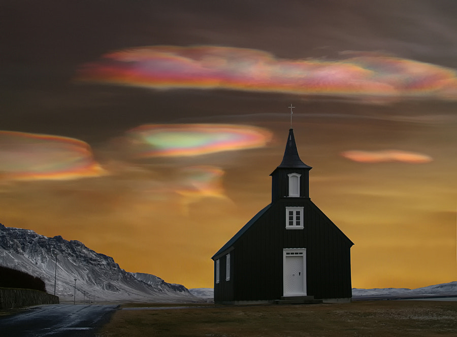These kind of clouds (called Mother of Pearls, or nacreous clouds) are very rare, but mostly to be seen on the northen part of the earth, in the middle of winter. These clouds are very colorful and beautiful. I have only seen these clouds two times in my life.