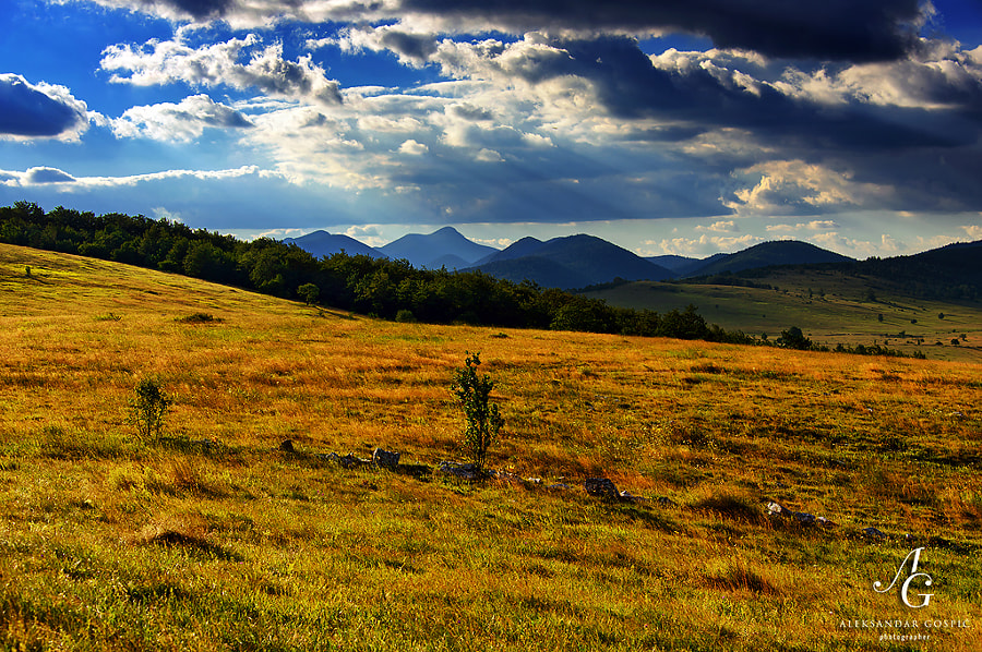 Dreamy afternoon in the highlands of western Bosnia, in the distance the mountains Osječenica (1798m)